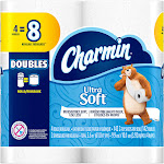 Charmin Ultra Soft Toilet Paper, Double Rolls - 4 count