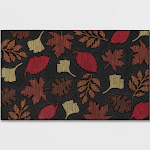 """1'6""""x2'6"""" Leaves Rubber Doormat Red - Threshold"""