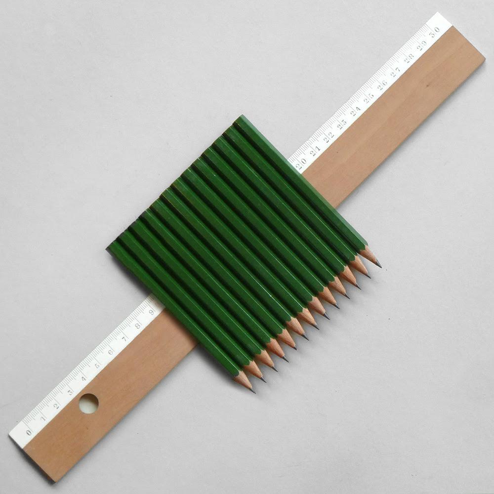13 half pencils, 130cm ruler.