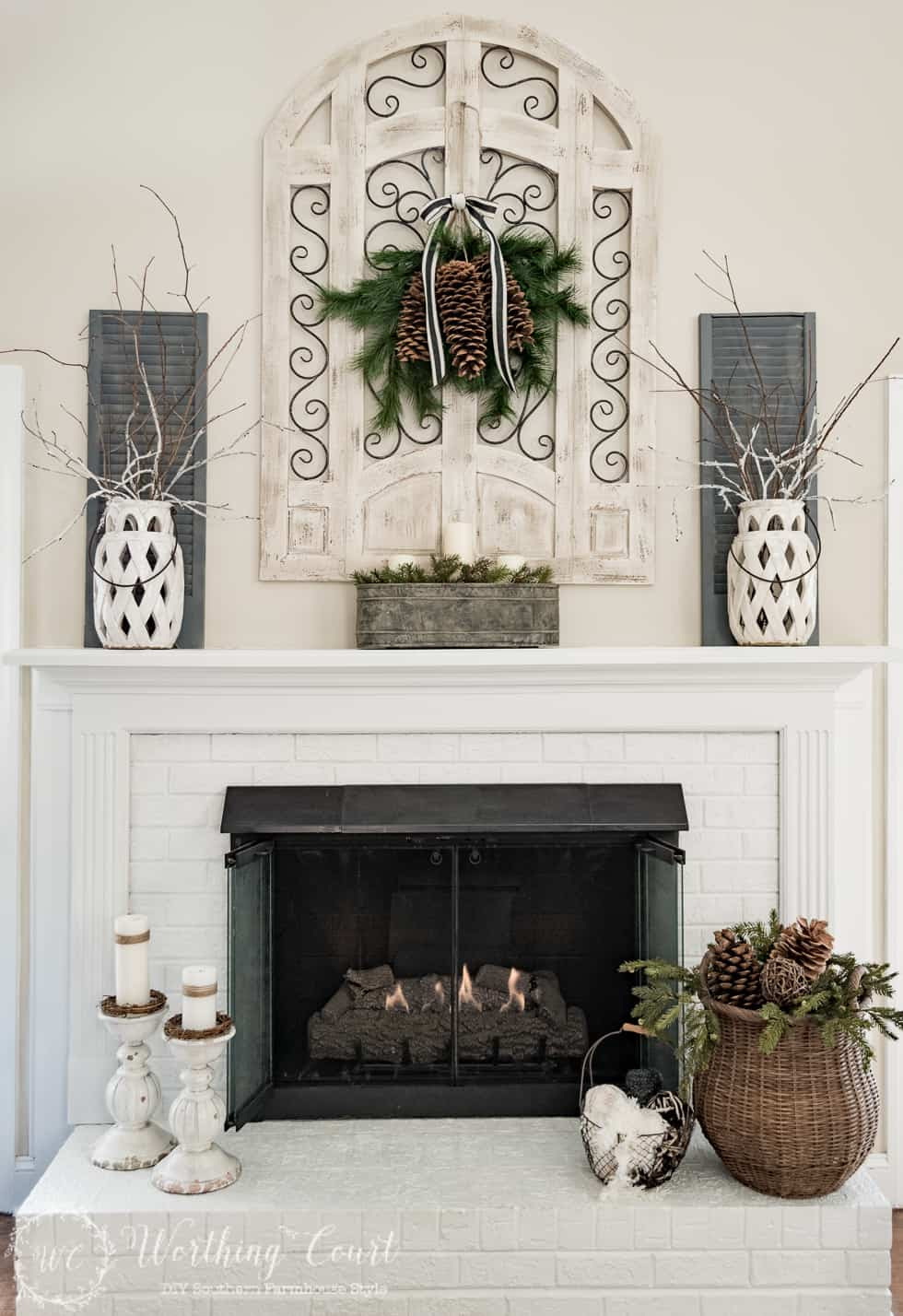 Winter Fireplace And Mantel