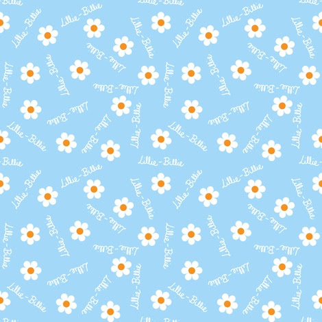 Personalised Name Fabric - Handwritten Blue Daisies fabric by shelleymade on Spoonflower - custom fabric