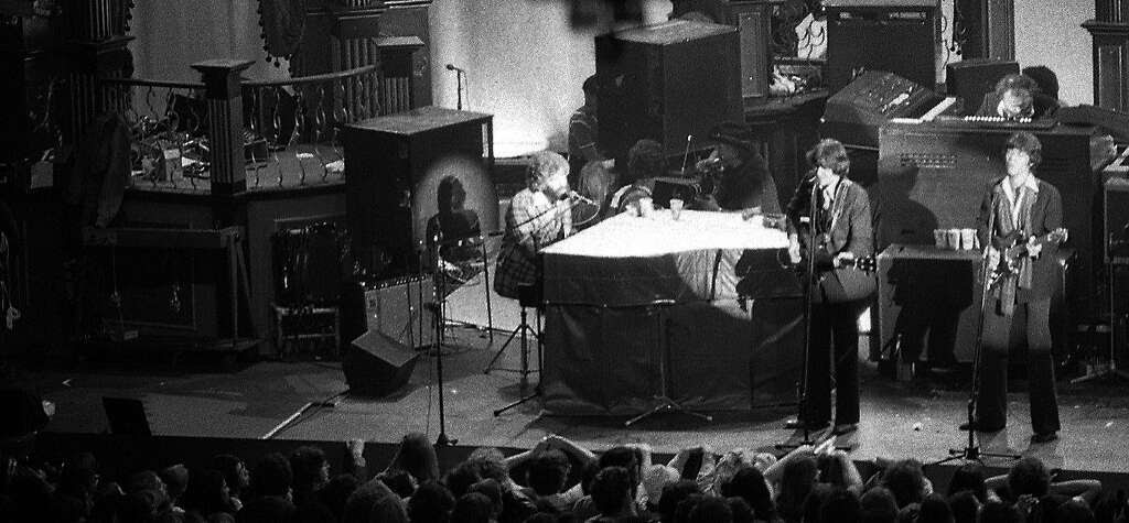 The Band with menbers Garth Hudson, Rick Danko, Robbie Robertson Richard Manuel and Levon Helm at the Last Waltz show. Photo: Gary Fong, The Chronicle