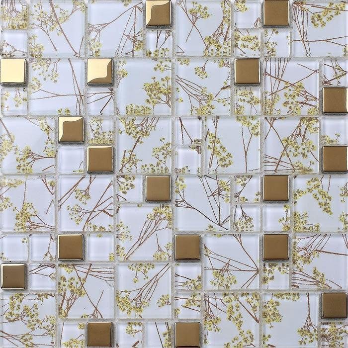 Luxury Golden Tile Wall mural flower Mosaic pattern ...
