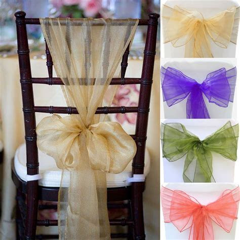 100PCS 28 colors Organza Chair Sashes bow cover Wedding
