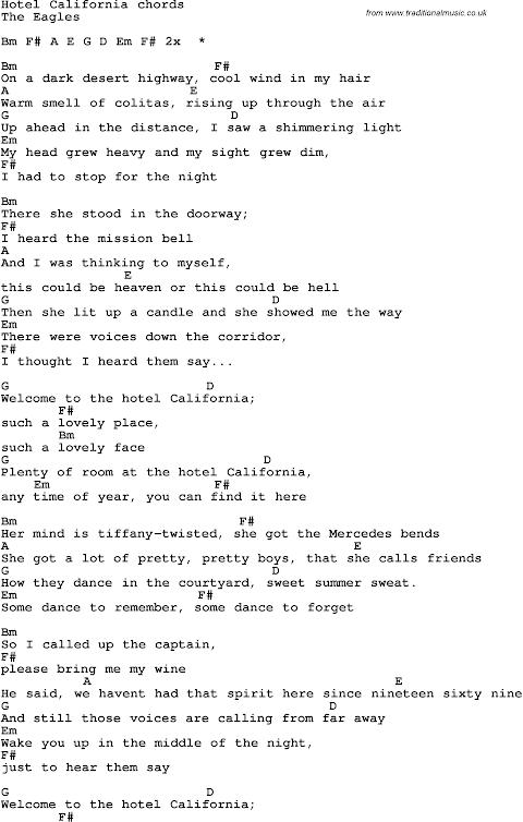 Hotel California Lyrics And Chords Pdf