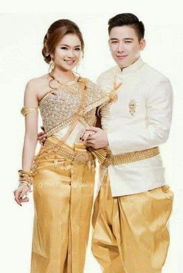 Gold khmer wedding   Khmer Traditional wedding clothes