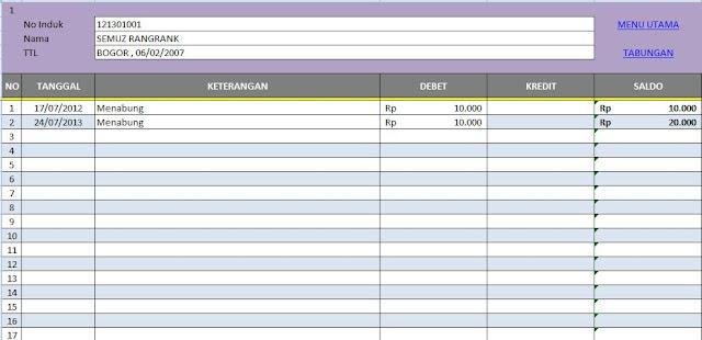 Format Tabungan Siswa Excel Full Download