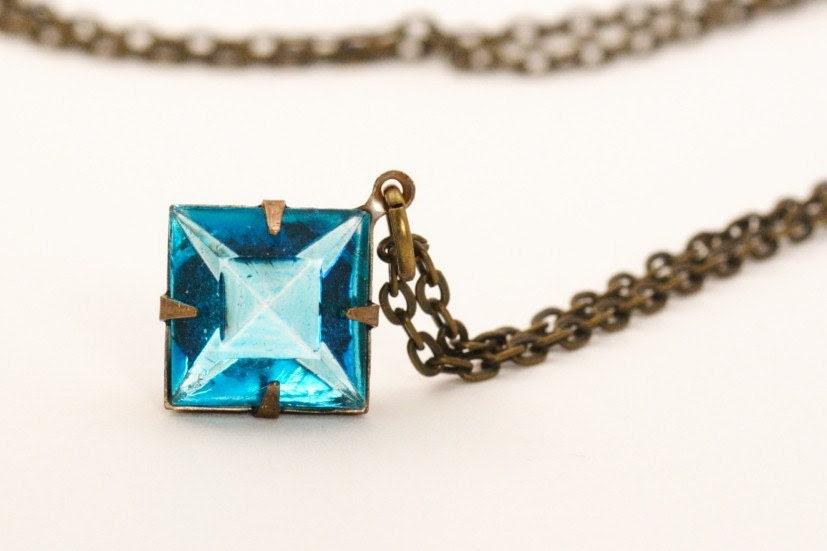 Vintage Glass Jewel Necklace - Deep Aqua