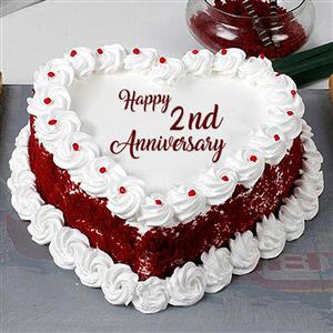 Send 2nd Anniversary Vanila Cake On Anniversary To 500 Cities In India