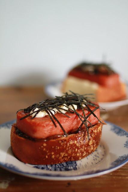 Luncheon Meat, Seaweed, Mayo & Caramelized Onion Teriyaki Sauce Sandwich
