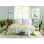Hello! Lucky Tiger Flower Quilt Set, Purple, King