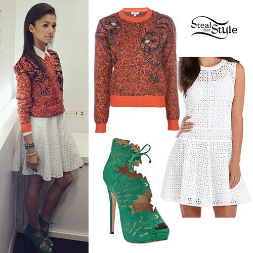 Zendaya: Orange Sweater, Eyelet Dress