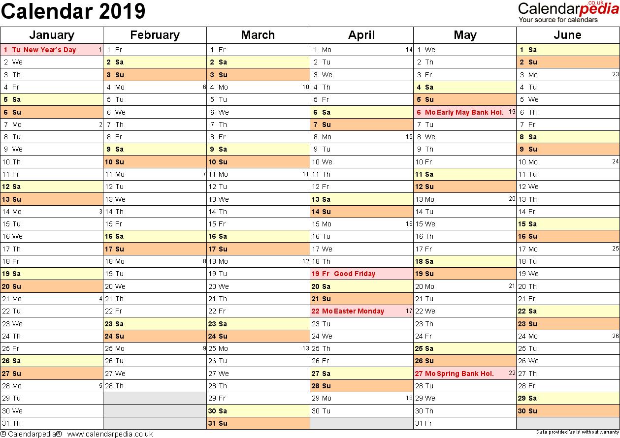 calendar 2019 printable uk
