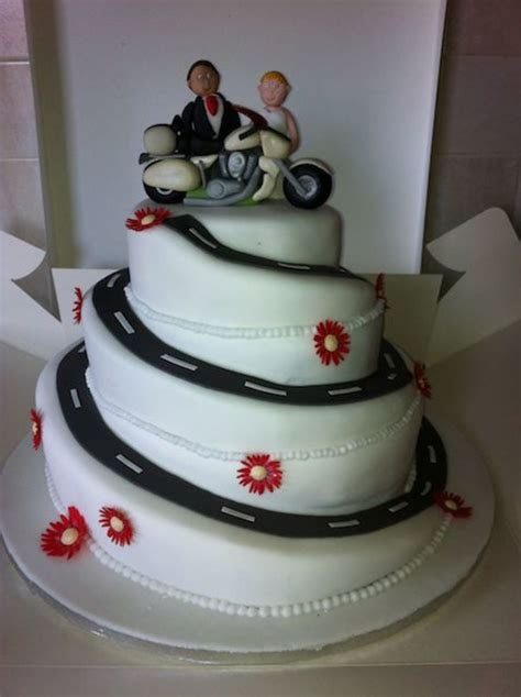 Spiral Wedding Cake With Gerberas And Motorbike