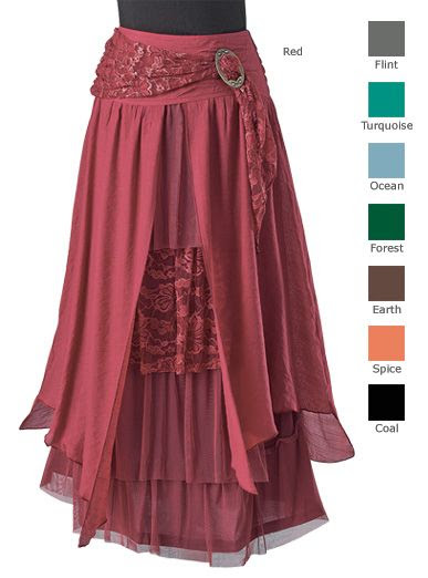 Skirts - Layered Skirt with Brooch. This with the Ruanna for Ren Faire. The only question is the color...: