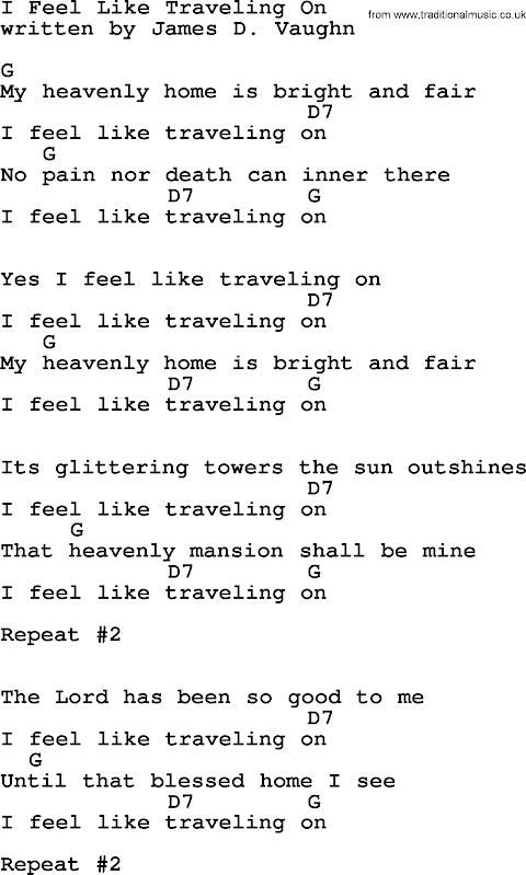 I Feel Like Traveling On Lyrics And Chords