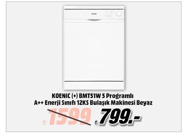KOENIC (+) BMT51W 5 Programlı A++ Enerji Sınıfı 12KS Bulaşık Makinesi Beyaz 799TL