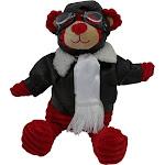 """PilotMall.com 12"""" Red Bear Pilot Plush Corduroy Aviator"""