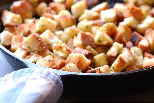 Homemade garlic & herb croutons by Eve Fox, Garden of Eating blog, copyright 2012