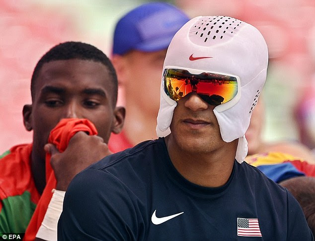 American decathlon star Ashton Eaton models the new Nike 'cooling mask' at the World Championships