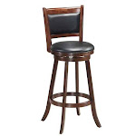 "Set of 2 24"" Accent Wooden Swivel Bar Stools with High Back and Upholstered Seat-29"" - Size: 29"""