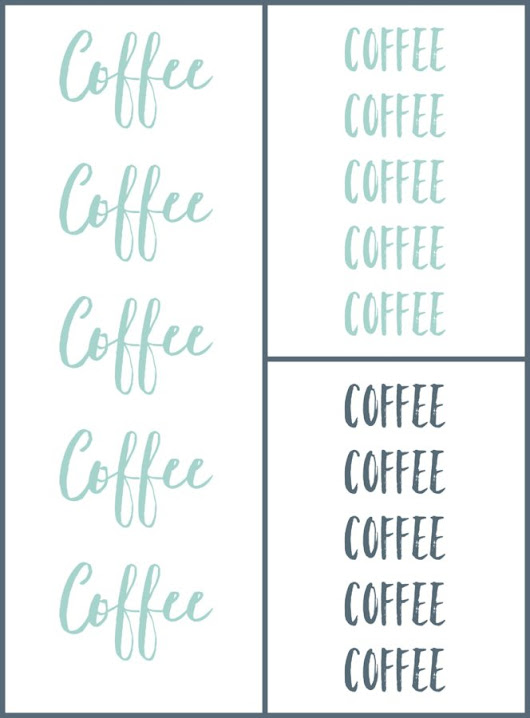 Coffee Coffee Coffee Printables in Grey, Blue, and Cursive - Living the Sweet Wife