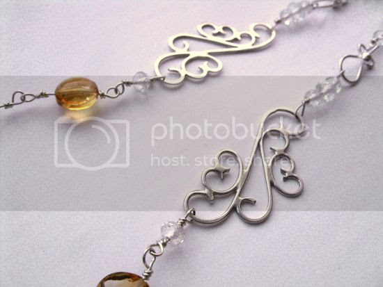 citrine and white topaz silver necklace