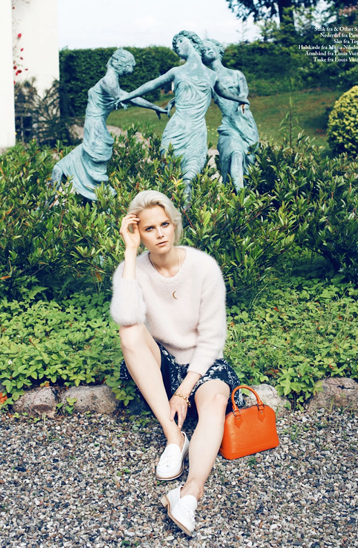 LE FASHION BLOG EDITORIAL EUROWOMAN LAZY DAYS BLONDE HAIR UP DO NATURAL BEAUTY FUZZY ANGORA MOHAIR NUDE SWEATER CRESCENT MOON NECKLACE PRINT NAVY FLORAL SKIRT TOP HANDLE ORANGE BAG WHITE TASSEL LOAFERS BEADED BRACELET Photographer Katrine Rohrberg Stylist Sara Jin Mi Olsen Hair Line Bille Make up Liv Worm Jensen Model Josefine Nielsen 3 photo LEFASHIONBLOGEDITORIALEUROWOMANLAZYDAYSFUZZYSWEATERPRINTSKIRTORANGEBAG3.png