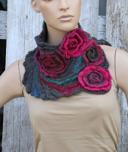 Unique scarf Crochet Scarf Cowl chunky crochet scarf by Degra2
