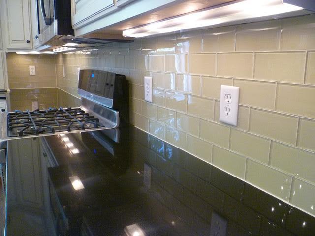 Glass Subway Tile Kitchen Backsplash - contemporary - kitchen ...