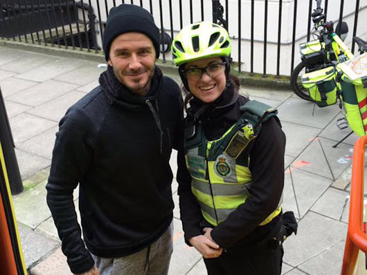 David Beckham surprised a paramedic and her patient with a cup of tea