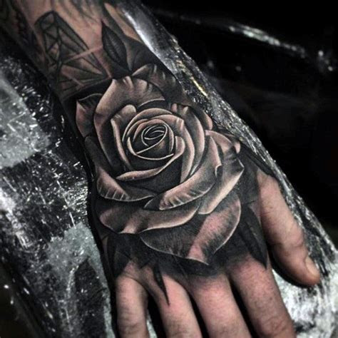 white black rose tattoo upper hand