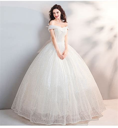 Bling Wedding Dress Off The Shoulder Ball Gown Bridal Dress