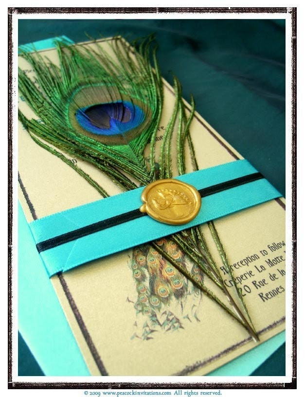 STEFANIE Peacock Themed Wedding Invitation French Art Nouveau Turquoise and