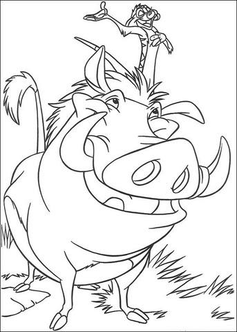 Coloriage Pumba Dans Le Roi Lion Coloriages à Imprimer Gratuits