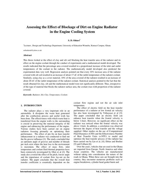 (PDF) ASSESSING THE EFFECT OF BLOCKAGE OF DIRT ON ENGINE