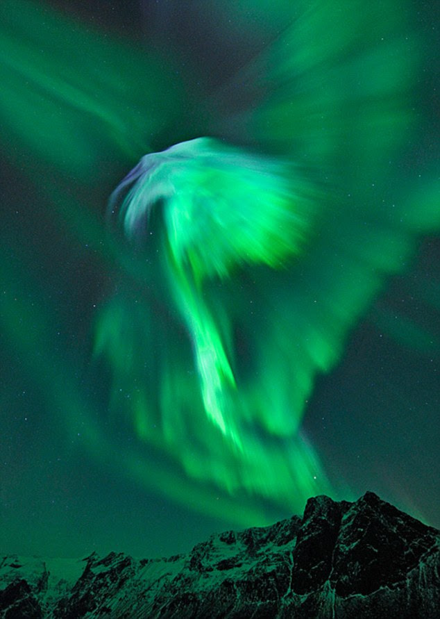 Auroras seen from Norway: A spectacular 'coronal mass ejection' following a solar flare has caused magnetic storms
