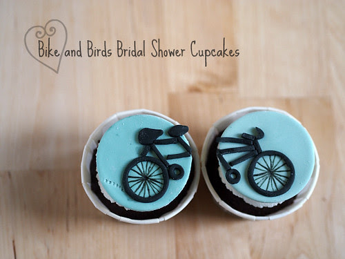 Bike and Birds Bridal Shower Cupcakes