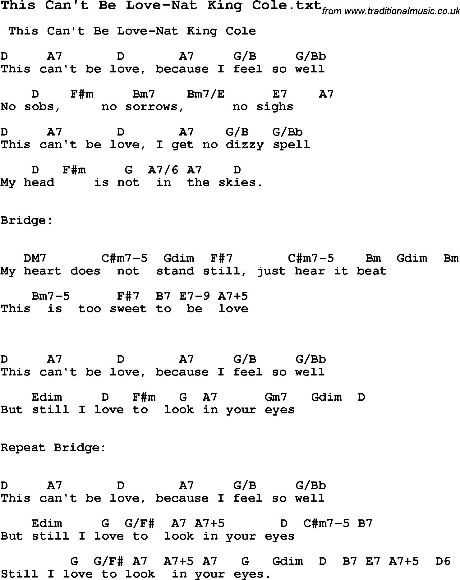 Love Lyrics Quotes: Love Song Lyrics Nat King Cole