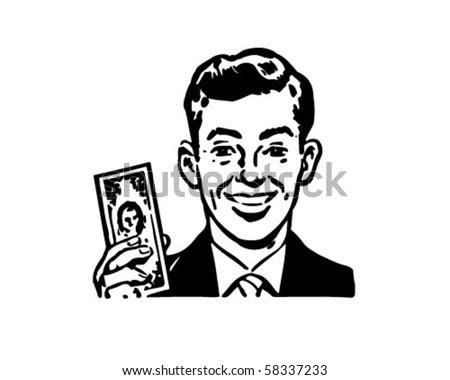 stock vector : Man With Billion Dollar Bill - Retro Clip Art