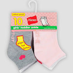 00038257202410 Hanes Baby Girls' 10pk Athletic Ankle Socks Multicolored