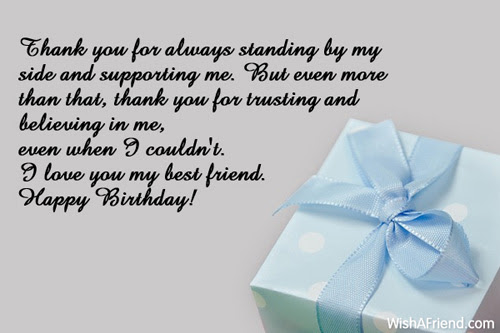 Thank You For Always Standing By Best Friend Birthday Wish