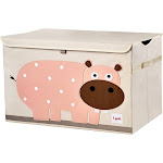 3 Sprouts Hippo Toy Chest, Pink/Natural