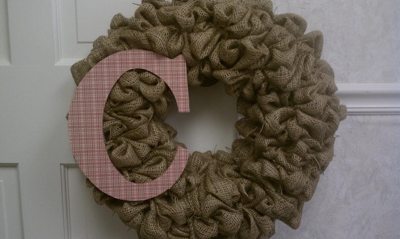 "24"" burlap wreath with initial"
