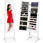 Best Choice Products 6-Tier Standing Mirror Lockable Storage Organizer Cabinet Armoire w/ LED Lights - White