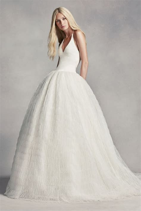 Extra Length White by Vera Wang Halter Tulle Wedding Dress