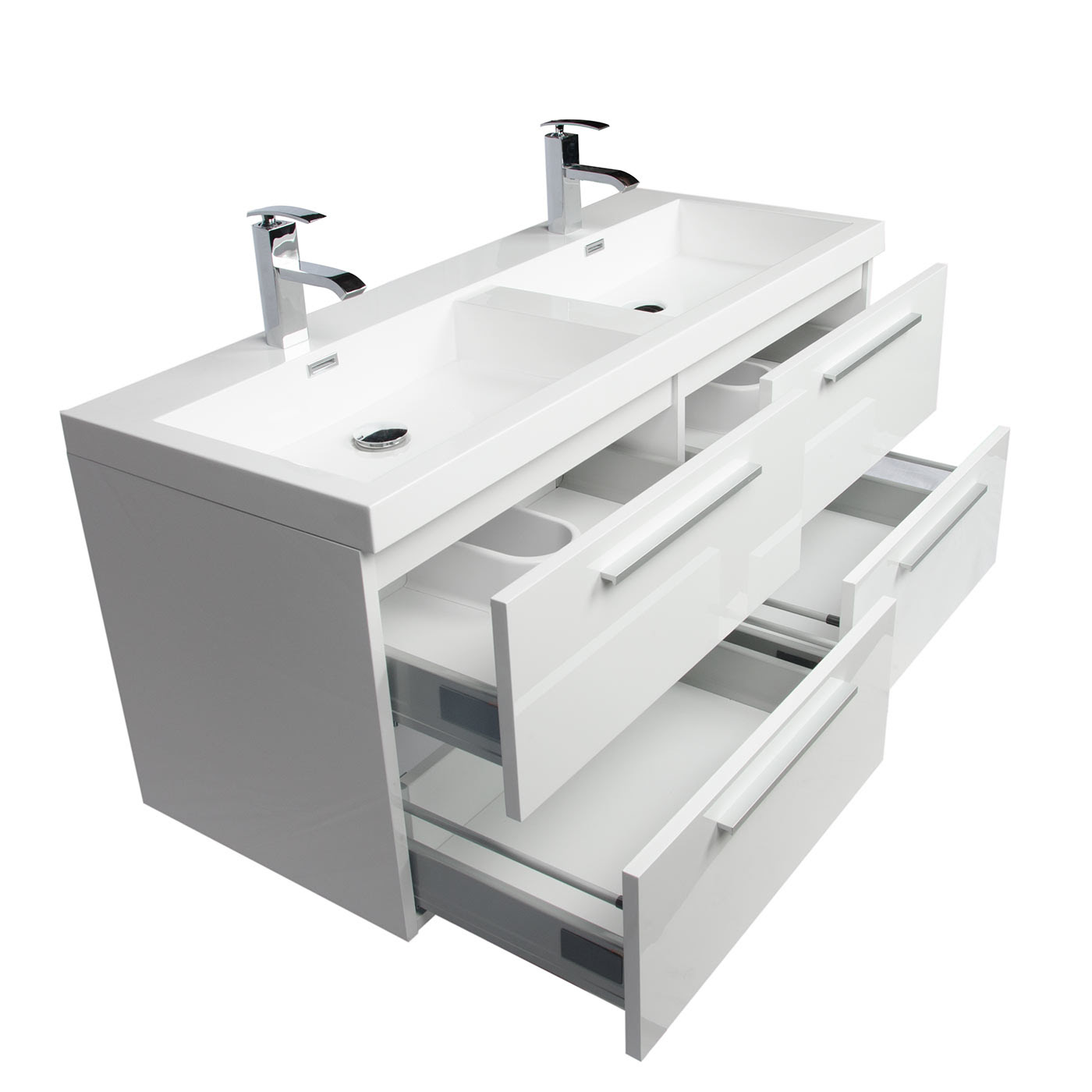 Buy 47 Inch Wall Mounted Modern Double Bathroom Vanity ...