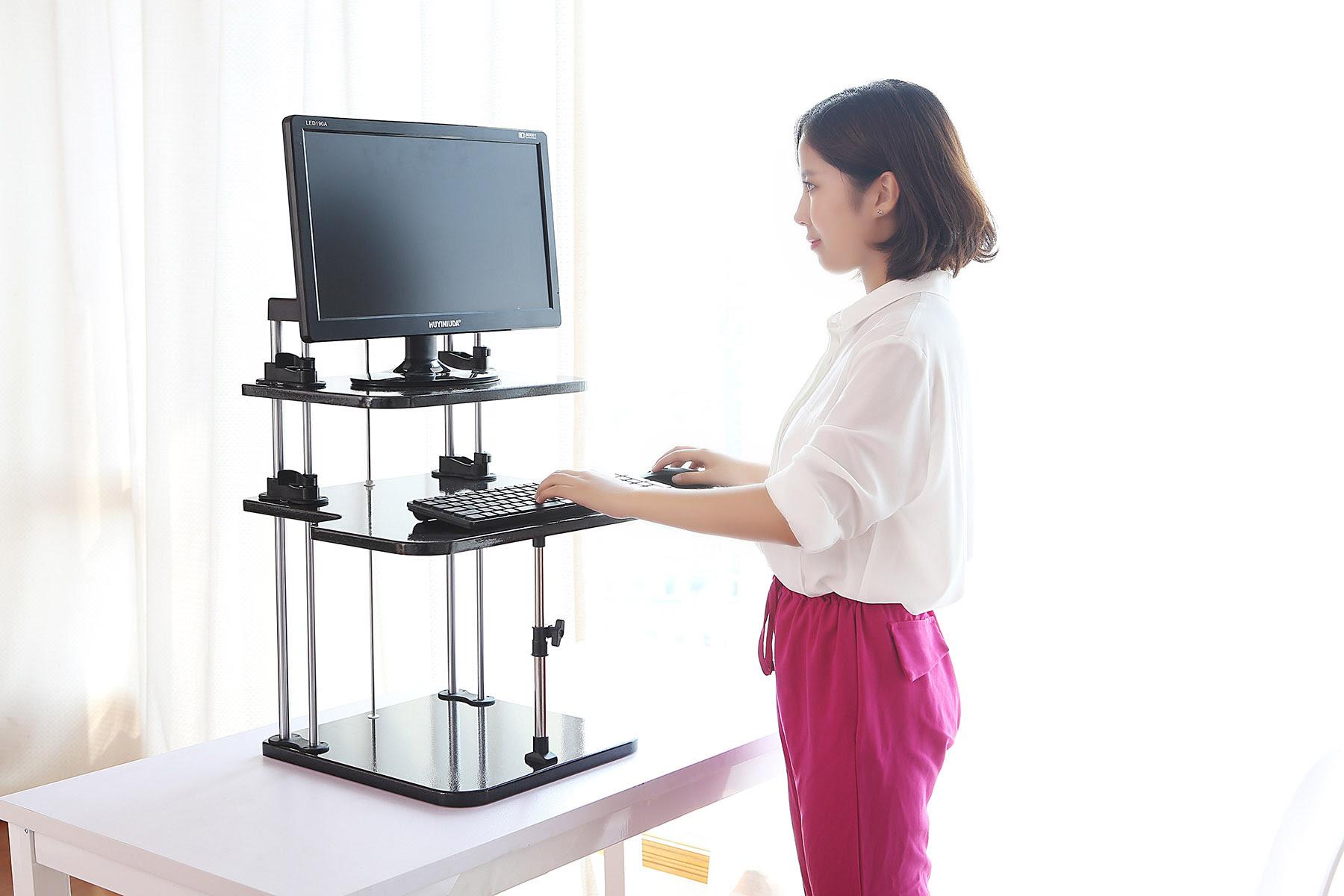 Adjustable Computer Laptop Standing Desk \/ Stand Up Desk Workstation Home Office  eBay