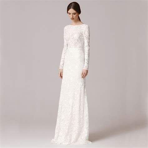 Vnaix FW1252 Vintage Lace Long Sleeve Sheath Wedding Dress