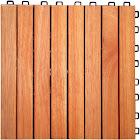 Vifah 8 Slat Eucalyptus Interlocking Deck Tile - Brown (Set of 10)